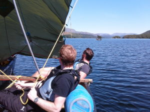Canoe-sailing on Coniston Water