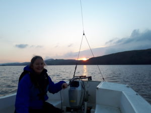 Winter sunset while sailing in the Lake District