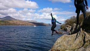 Jumping into Coniston Water